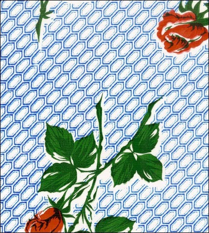 Rose and Stem Blue Oilcloth