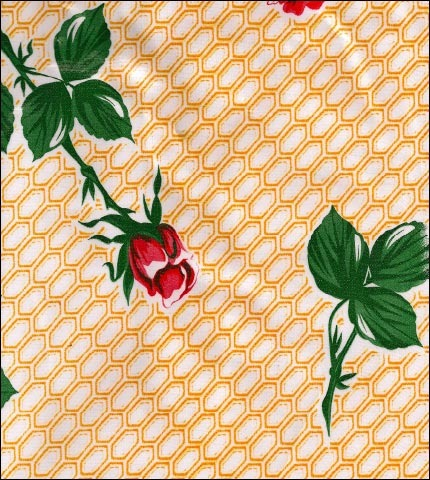 Rose and Stem Yellow Oilcloth