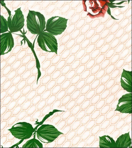 Rose and Stem Tan Oilcloth Fabric