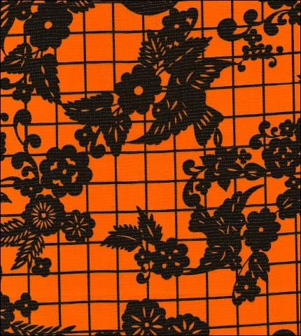 Day of the Dead Black on Orange Oilcloth