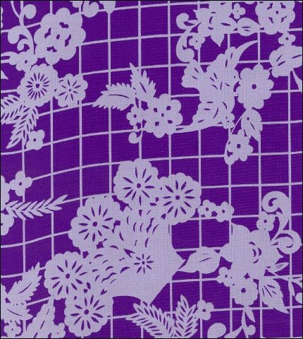 Day of the Dead White on Purple Oilcloth