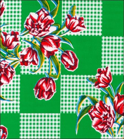 Tulips Green Oilcloth