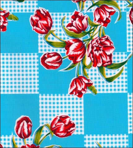 Tulips Light Blue Oilcloth