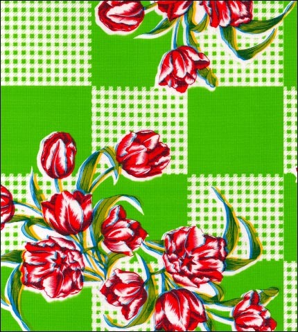 Tulips Lime Oilcloth