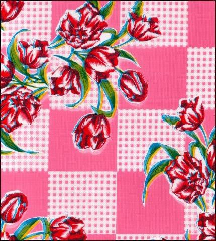 Tulips Pink Oilcloth Roll