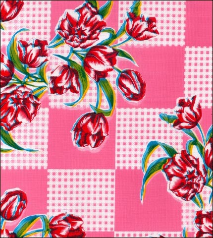 Tulips Pink Oilcloth