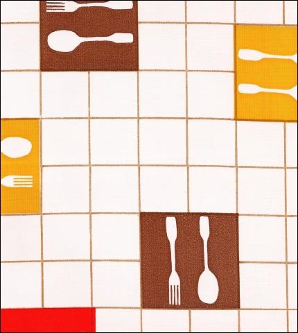 Forks and Spoons Brown Oilcloth Fabric