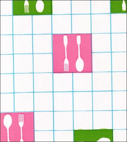 Forks and Spoons Light Blue Oilcloth Fabric