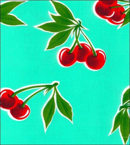 Cherry Aqua Oilcloth Fabric