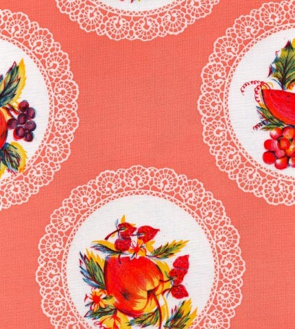 Doily Salmon Oilcloth By The Yard