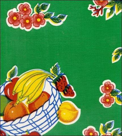 Fruit Basket Green Oilcloth Fabric