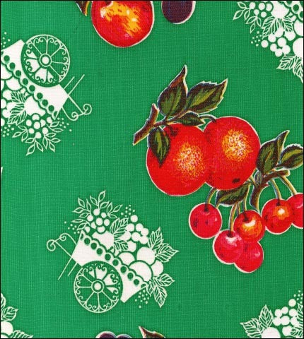 Fruit Cart Green Oilcloth Fabric