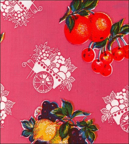 Fruit Cart Pink Oilcloth Fabric