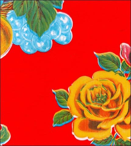 Lemons and Roses Red Oilcloth