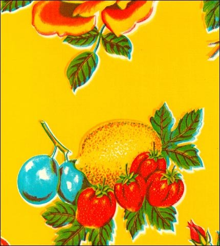 Lemons and Roses Yellow Oilcloth