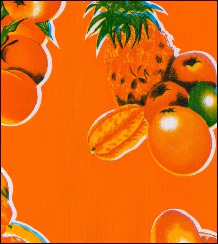 Tropical Fruits Orange Oilcloth Fabric