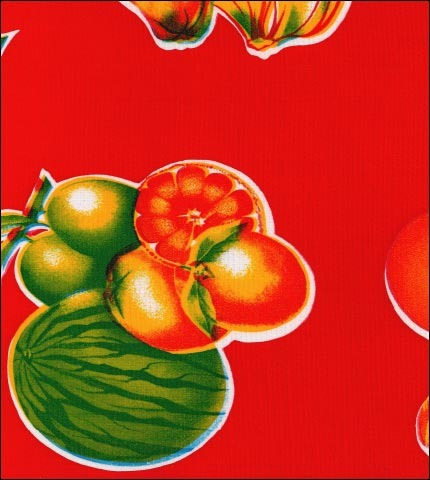 Tropical Fruits Red Oilcloth