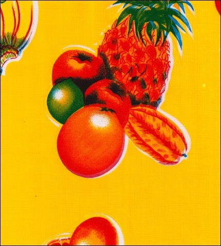 Tropical Fruits Yellow Oilcloth
