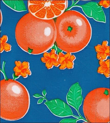 Oranges Blue Oilcloth Roll