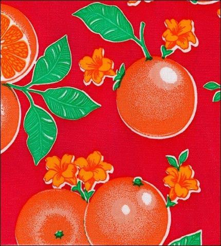 Oranges Red Oilcloth Roll