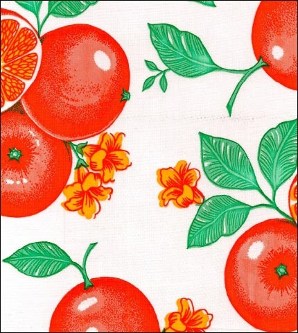 Oranges White Oilcloth Fabric