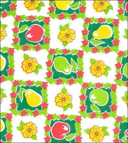 Pears and Apples Green Oilcloth Roll