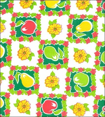 Pears and Apples Green Oilcloth