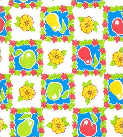 Pears and Apples Light Blue Oilcloth