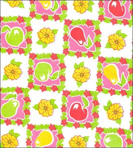 Pears and Apples Pink Oilcloth