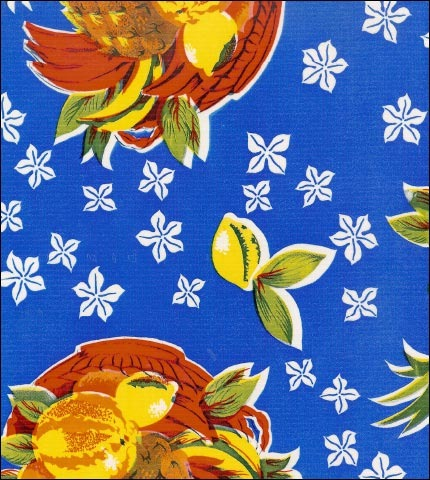 Pineapples Blue Oilcloth