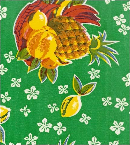 Pineapples Green Oilcloth