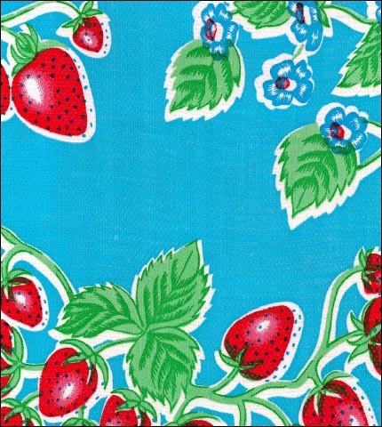 Strawberry Light Blue Oilcloth