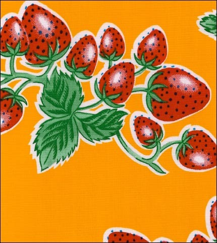 Strawberry Yellow Oilcloth Fabric