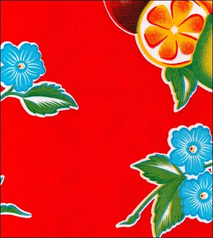 Tropical Fruit Red Oilcloth