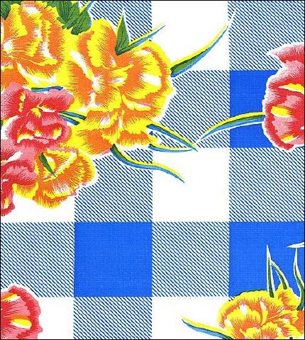 Gingham and Flowers Blue Oilcloth Fabric