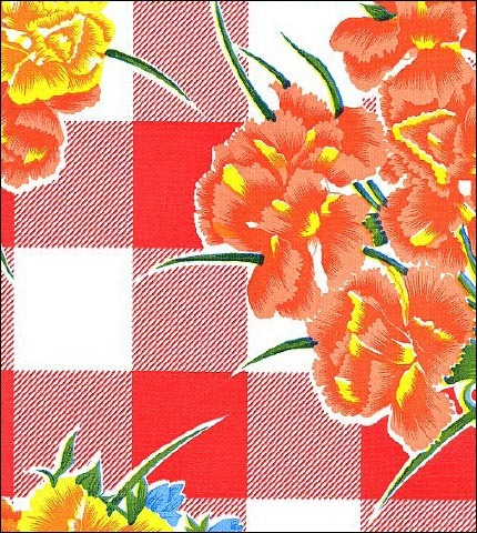 Gingham and Flowers Red Oilcloth Fabric