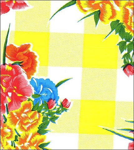 Gingham and Flowers Yellow Oilcloth Fabric