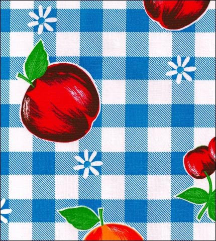 Gingham and Fruit Blue Oilcloth Fabric