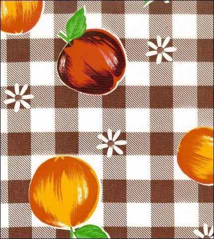 Gingham and Fruit Brown Oilcloth Fabric Roll