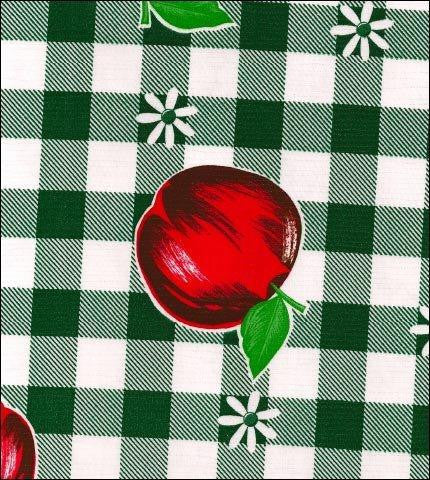 Gingham and Fruit Green Oilcloth Fabric Roll