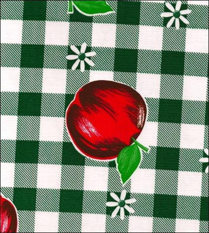 Gingham and Fruit Green Oilcloth Fabric