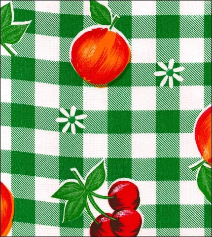 Gingham and Fruit Grass Green Oilcloth
