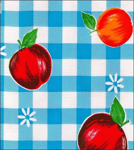 Gingham and Fruit Light Blue Oilcloth