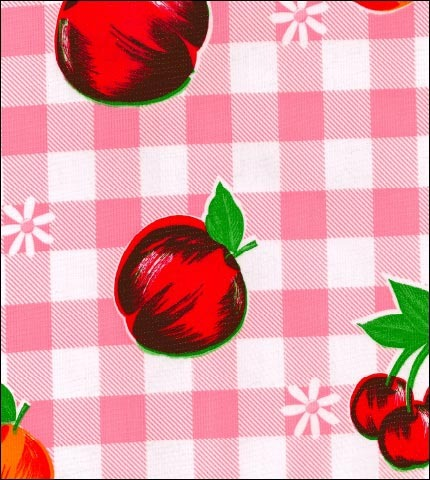 Gingham and Fruit Pink Oilcloth Fabric