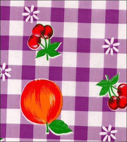 Gingham and Fruit Purple Oilcloth Fabric
