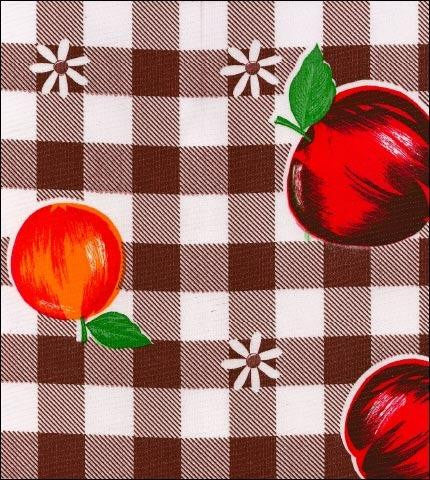 Gingham and Fruit Root Beer Oilcloth Fabric Roll