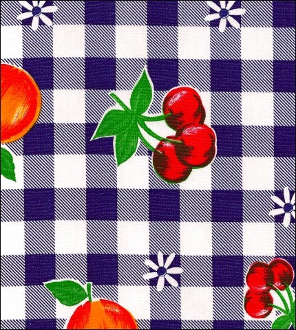 Gingham and Fruit Navy Blue Oilcloth Fabric