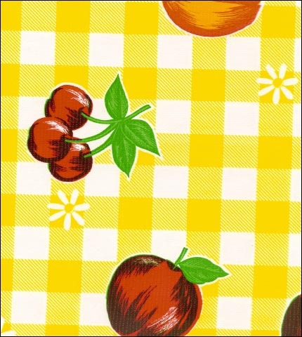 Gingham and Fruit Yellow Oilcloth
