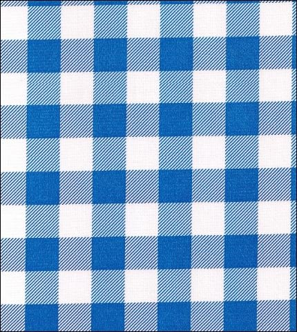 Gingham . Large Blue Oilcloth Fabric