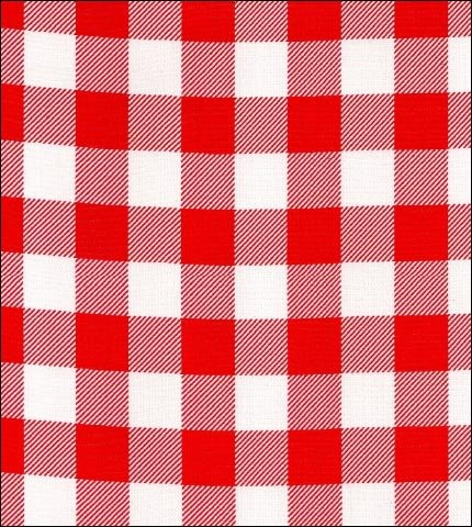 Gingham . Large Red Oilcloth Fabric